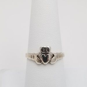 Sterling Claddagh Ring Signed Sz 7.75